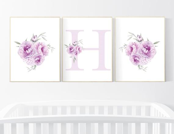 Nursery decor girl floral, Nursery decor girl purple, nursery decor girl flower, lavender, lilac nursery, nursery decor girl name, peony