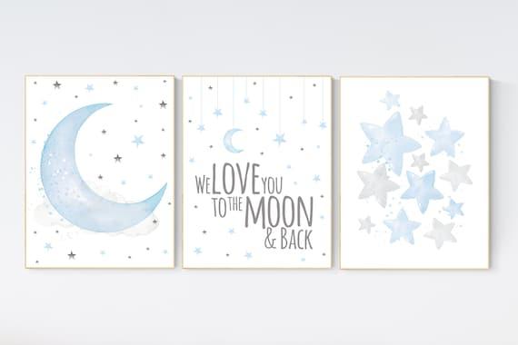 Nursery decor boy baby blue, Nursery wall art boy, nursery decor, moon and stars, we love you to the moon and back, nursery prints boy