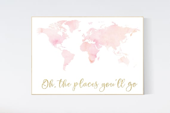 Blush pink watercolor world map, Nursery baby girl room, nursery wall art map, blush nursery, nursery decor girl map print, girl room decor