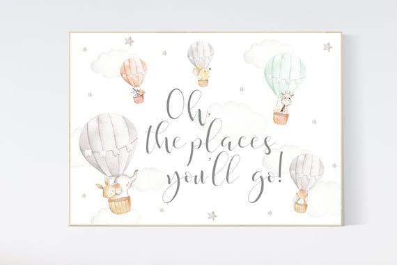Hot air balloon nursery, Nursery decor neutral, gender neutral, animal nursery, woodland animals, gray, grey, oh the places you'll go