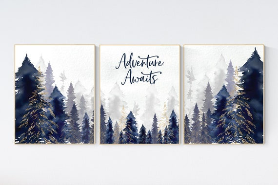 Woodland Nursery Decor, Baby Boy Nursery, Mountain Nursery, Adventure Awaits Print, Nursery decor boy, woodland nursery, navy gold