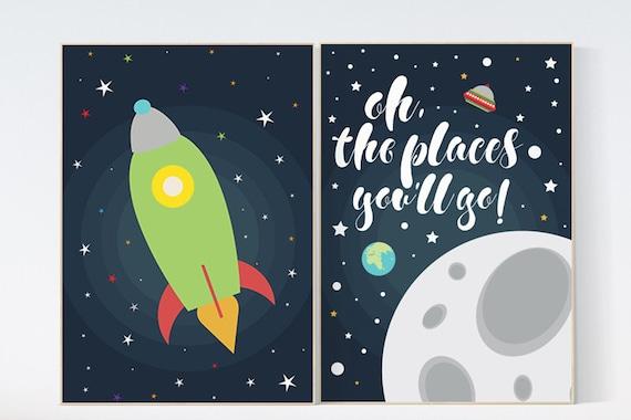 Oh the places you'll go, outer space nursery wall art, navy space nursery decor, baby boy, moon print, playroom decor, kids room, space art