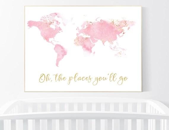 Nursery decor pink gold, girl room decor, world map print nursery, world map print watercolor, nursery wall art, pink and gold