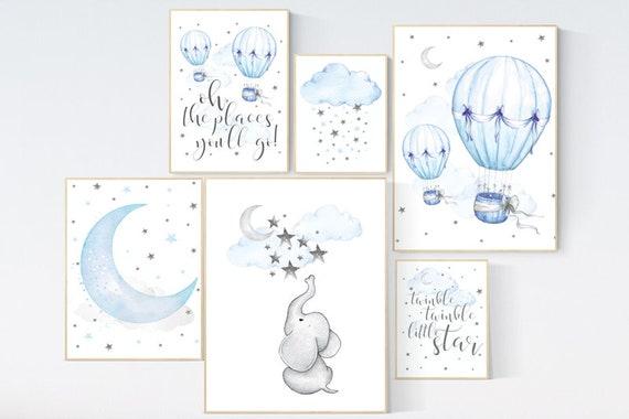 Nursery decor boy elephant, blue and gray nursery, hot air balloon, twinkle twinkle little star, boys room decor, oh the places you'll go