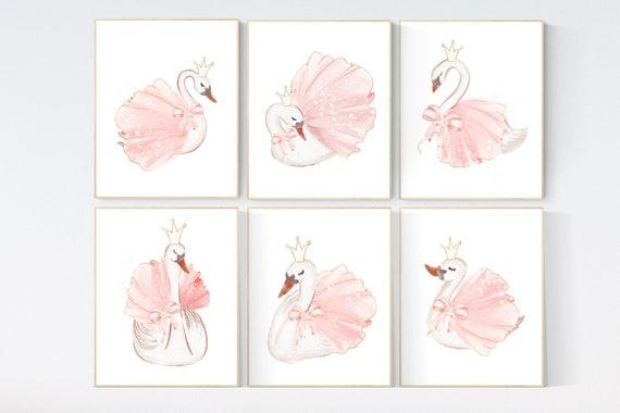 Nursery decor girl swan, swan ballerina, princess, swan nursery wall art, blush nursery, swans, ballet, blush pink nursery decor