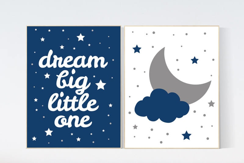Fresh Baby boy nursery set, Moon and stars nursery, navy blue nursery  GZ23