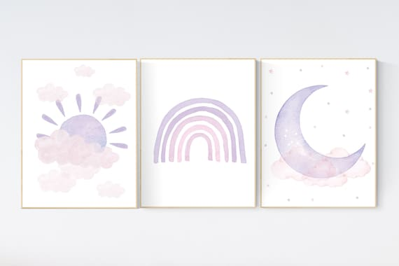 Nursery prints rainbow, pink purple, girl nursery, Nursery decor girl, nursery wall art, pink and purple, rainbow, moon, star, cloud