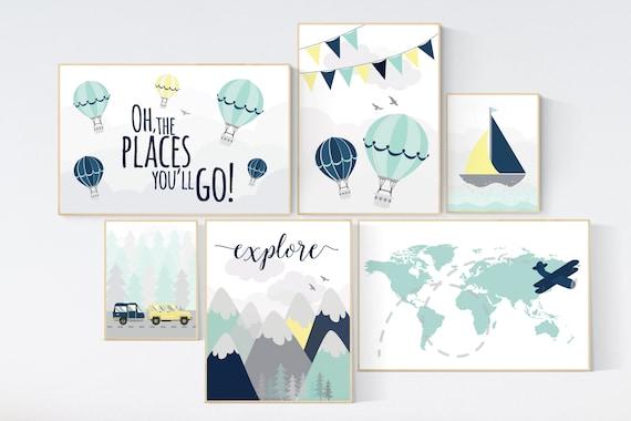 Adventure awaits nursery, Mountain art print set, navy mint yellow, Adventure nursery, mountain, airplane, world map, hot air balloon