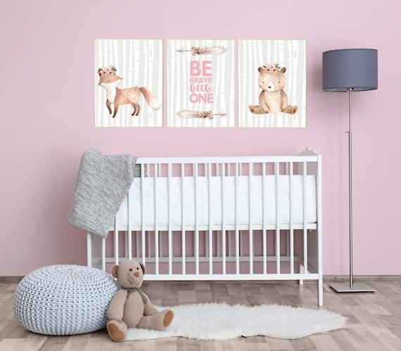 Nursery decor girl woodland animals, Nursery decor woodland, boho, animal nursery, nursery wall art woodland animals, girl nursery bear, fox