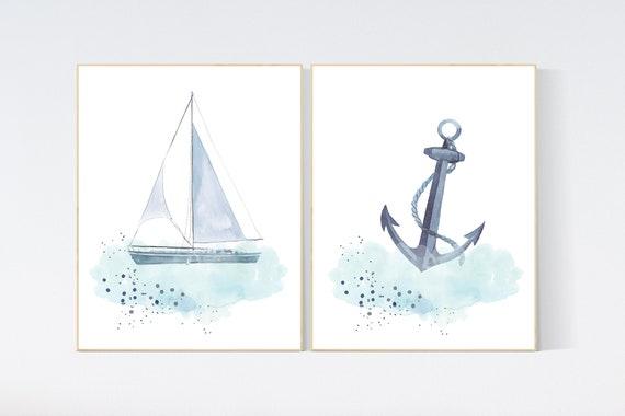 Nursery wall art ocean, nautical nursery decor archor, under the sea nursery, sea nursery art, nursery wall decor, nursery wall decor