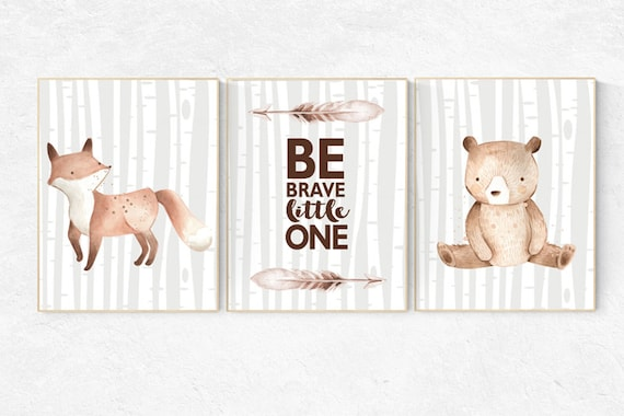 Nursery decor woodland, Woodland Nursery Wall Art, Woodland Print Set, Woodland Animal Prints, nursery decor neutral, gender neutral,