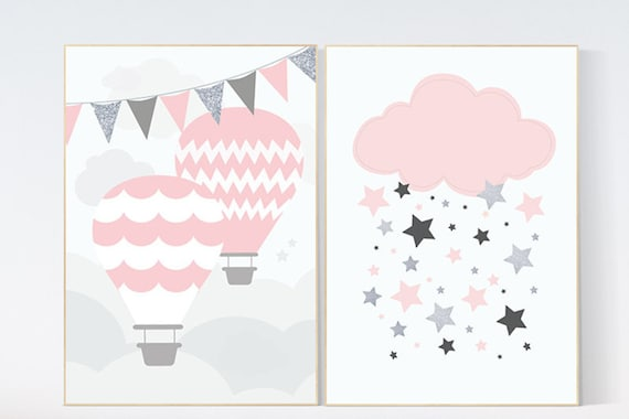 Hot Air Balloon nursery, baby girl nursery, set of 2, pink nursery, nursery wall art, baby girl gift, baby girl baby shower, nursery decor