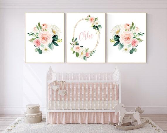 Nursery decor girl floral, nursery decor girl name, nursery decor girl flowers, blush pink, nursery decor girl boho, floral nursery prints