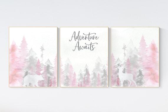 Nursery decor woodland, mountain wall art, tree nursery decor, adventure theme nursery, forest, pink and gray, woodland animals, pink gray