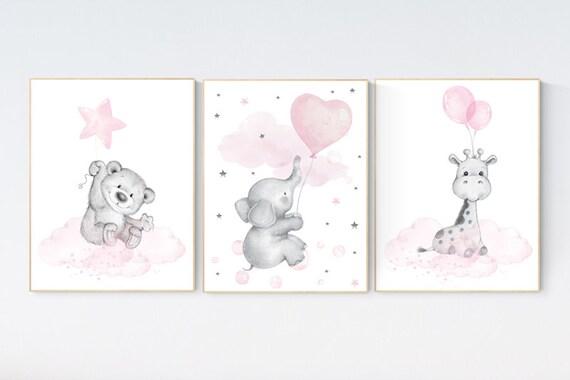 Nursery decor girl, elephant balloon print,  giraffe, bear, elephant wall art, baby girl nursery wall art, animal prints, pink and gray