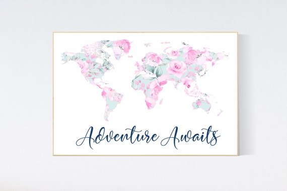 Nursery decor pink teal, Floral World Map, Girl Nursery Decor, Travel Nursery Art, floral Nursery Print, fuchsia and teal, pink map