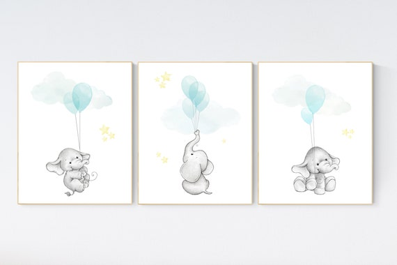 Nursery decor elephant, gender neutral nursery decor, teal yellow, nursery wall art animals, elephant balloon print, teal nursery prints