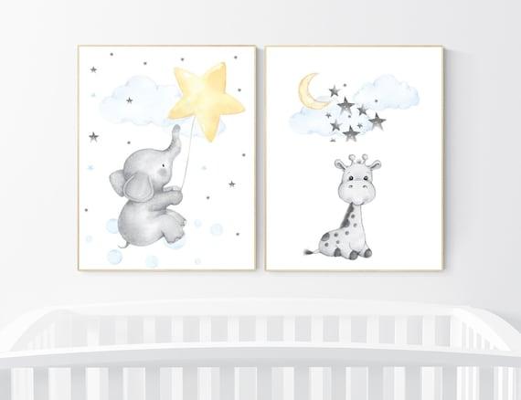 Elephant nursery art, giraffe nursery, blue yellow nursery, neutral nursery prints, cloud nursery, star nursery decor, gender neutral