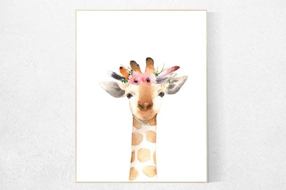 Giraffe nursery, nursery decor girl, Woodland nursery decor, nursery decor flower, woodland animals, woodland nursery girl, flower nursery
