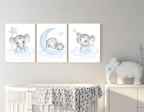 Nursery decor elephant, Nursery decor boy, nursery wall art elephant, baby room decor boy, Elephant Nursery Art, Baby Boy Nursery Art
