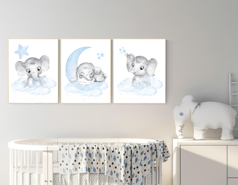 Nursery decor boy, Nursery decor elephant, nursery wall art