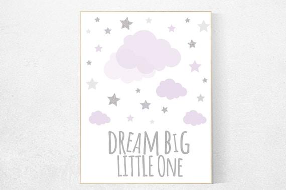 Lavender nursery decor, baby girl nursery, lilac gray nursery, dream big little one, girls room decor, star nursery decor girl, Purple Grey