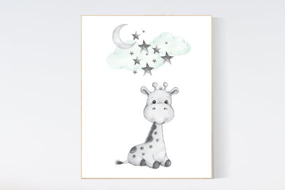 Nursery decor animals, mint nursery decor, giraffe nursery art, nursery decor giraffe, nursery decor neutral, gender neutral