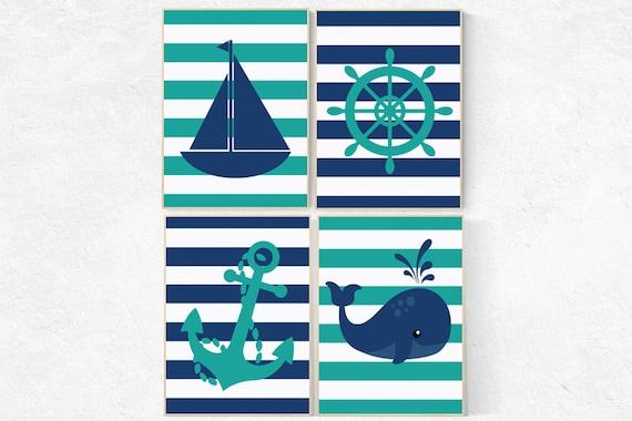 Baby Boy Nursery Wall Art, Nautical Nursery Print, Navy teal Nursery Decor whale nursery decor anchor Art Sailboat PrintWheel A rt Set of 4