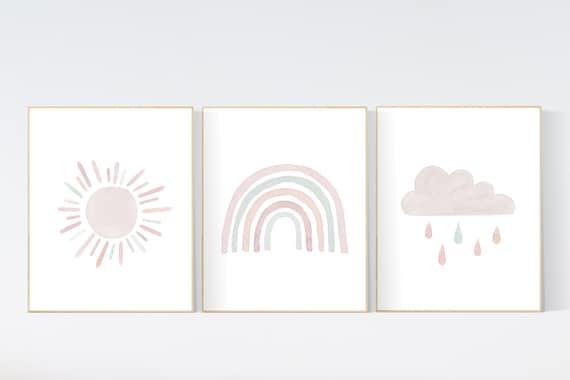 Nursery prints rainbow, Nursery decor girl, nursery wall art, blush pink, sage green, dusty blush,  moon star, cloud, nursery wall art
