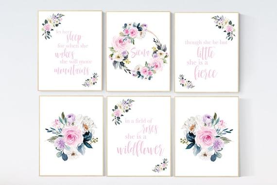 Nursery wall art floral, pink purple, nursery decor girl flower, baby room prints, Boho baby room, pink nursery, flower baby room, quotes