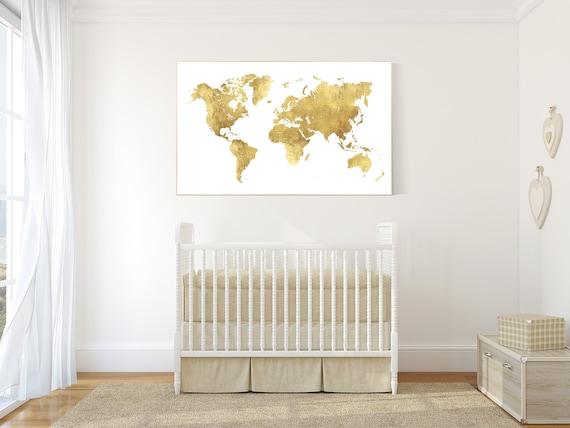 World map print nursery, gold map, baby girl, travel theme nursery wall art, nursery print, gold nursery art, travel theme nursery baby room