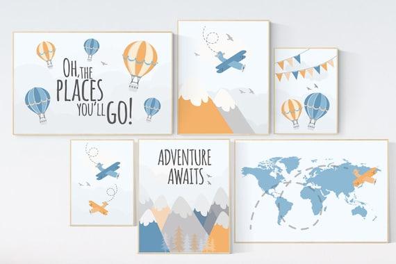 Adventure nursery decor, nursery decor airplane, world map nursery, adventure awaits, orange blue nursery, travel theme, gender neutral