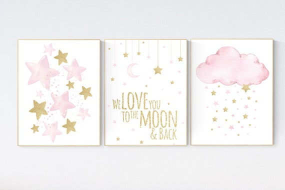 Nursery wall art girl cloud, stars, baby room decor girl gold and pink, we love you to the moon and back, pink gold nursery, baby room decor