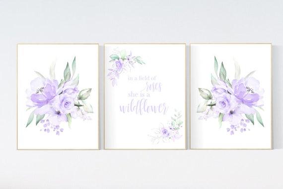 Nursery decor purple, Nursery decor girl purple, in a field of roses she is a wildflower, lavender nursery, lilac nursery, girls room