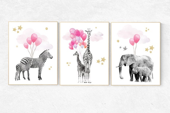 Baby animal prints, Pink gold Nursery, Safari Nursery, watercolor animals for nursery, Nursery animal print, , Nursery decor elephant