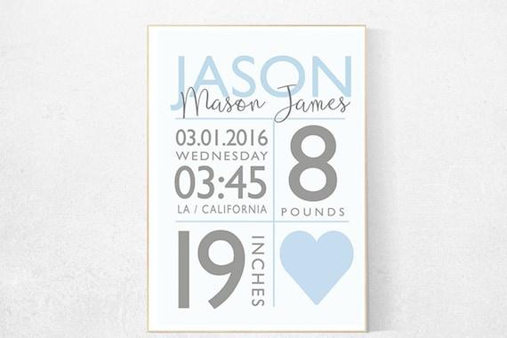 Baby boy birth announcement, baby boy nursery, boy birth print, baby print, baby stats, baby boy nursery decor, baby boy gift Custom Nursery
