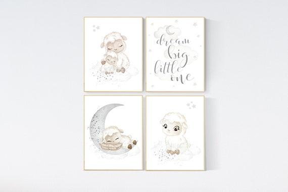 Sheep nursery decor, Gray nursery decor, nursery decor lambs, nursery wall art sheep, moon and cloud wall art nursery gender neutral nursery