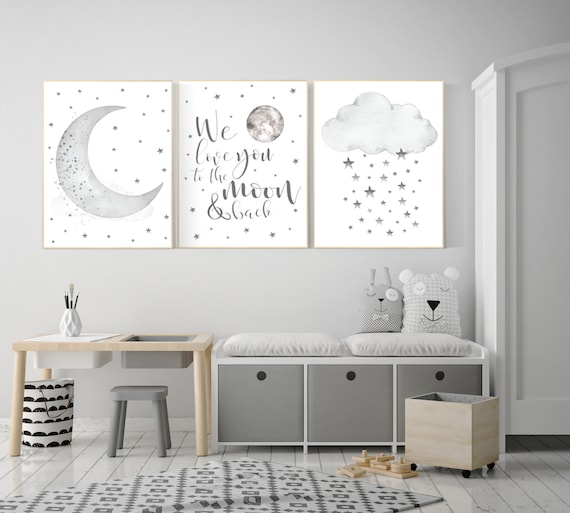 Nursery Wall Art Grey Gray Nursery Nursery Decor Neutral Etsy