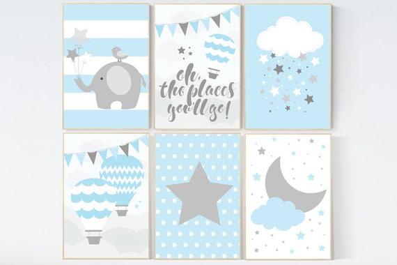 CUSTOMIZE! Nursery decor boy, nursery decor wall art, oh the places you'll go, blue gray decor, hot air balloon, nursery decor elephant
