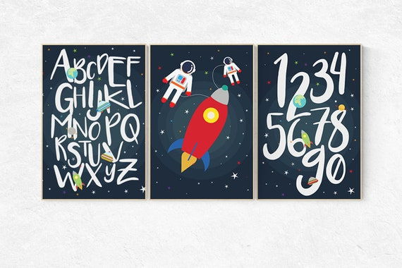 Space themed nursery, set of 3 prints, alphabet nursery, nursery decor, Moon nursery decor, alphabet letters, Outer Space decor, space print