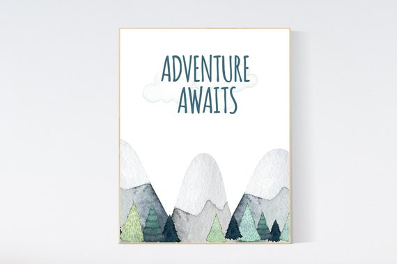Mountain wall art, gender neutral nursery, nursery decor boy mountain, adventure theme nursery, woodland nursery decor, nursery neutral