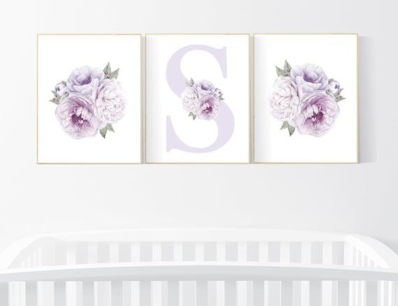 Nursery decor girl flower, floral nursery, lilac nursery, purple, peony flower, lavender nursery, girl nursery wall decor, set of 3 prints
