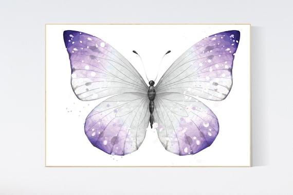 Butterfly nursery, Nursery decor girl purple, nursery decor girl, butterfly nursery wall art, lavender nursery, lilac, butterfly print
