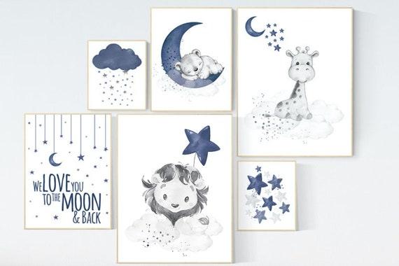 Nursery decor boy lion, bear, giraffe, boy nursery decor, moon and stars, navy blue, boy nursery wall art, we love you to the moon and back
