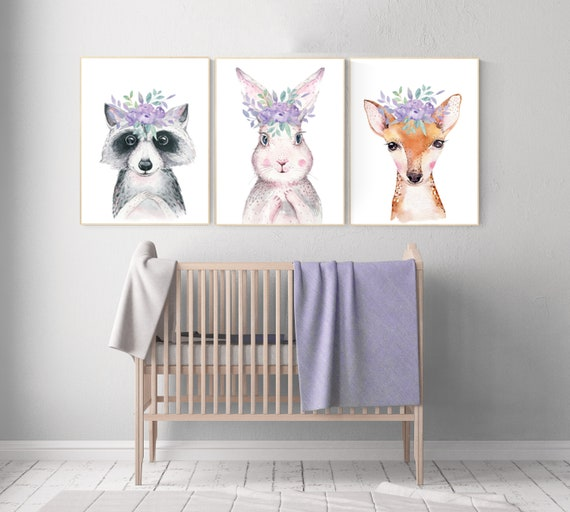 Nursery decor woodland, purple nursery, nursery decor animals, nursery wall art woodland animals, lilac, lavender, animal nursery