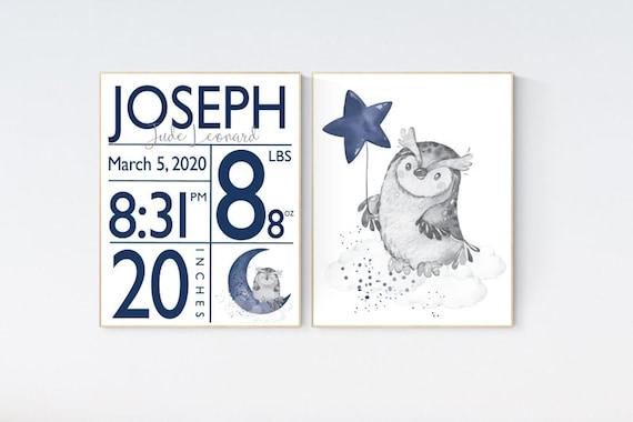 Owl nursery, Navy nursery wall art boy, owl print nursery, owl print baby, navy blue, Nursery decor boy owls, birth stats