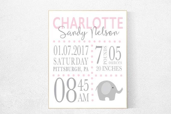 Girl birth announcement nursery decor, elephant nursery, pink nursery decor, baby birth print, pink nursery, baby stats, new baby gift ideas