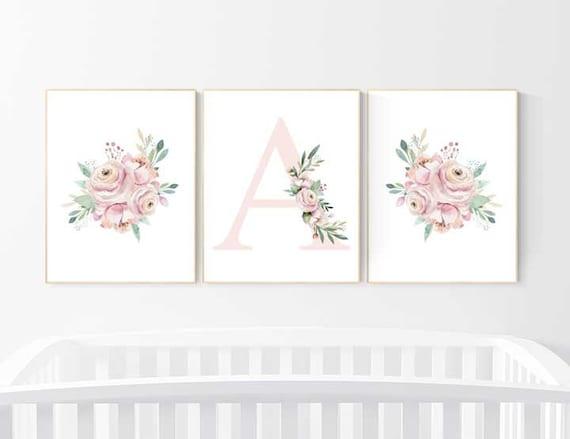 Nursery wall art flowers, Nursery decor floral, nursery decor girl floral, nursery decor flower, nursery decor name, nursery prints floral