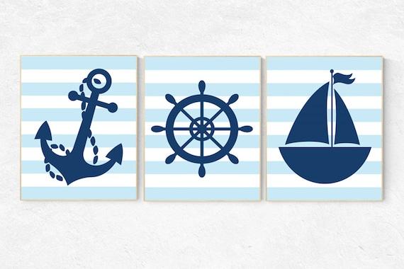 Navy blue nursery decor, Nautical boy nursery, nautical baby room, nursery decor boy nautical, nautical decor, navy blue wall art