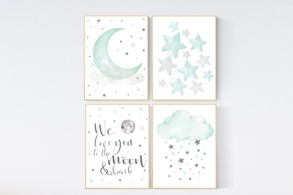 Nursery decor mint, Mint nursery, gender neutral nursery, we love you to the moon and back, mint green nursery wall art, cloud and star